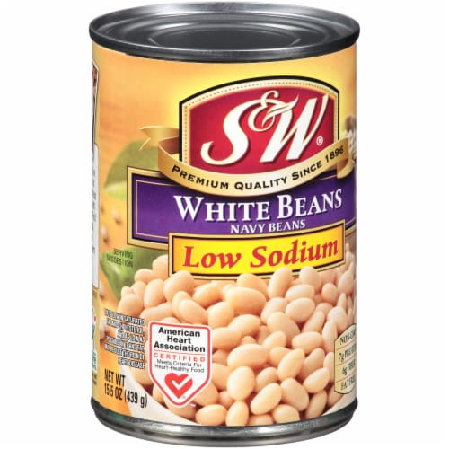S&W Reduced Sodium Premium White Beans Perspective: front
