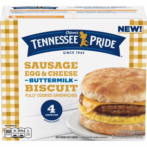 Odom's Tennessee Pride Sausage Egg & Cheese Buttermilk Biscuit Sandwiches Perspective: front
