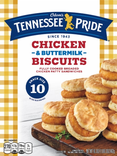 Odom's Tennessee Pride Chicken & Buttermilk Biscuit Sandwiches 10 Count Perspective: front
