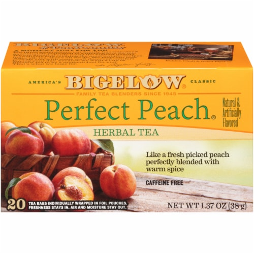 Bigelow Perfect Peach Herbal Tea Perspective: front
