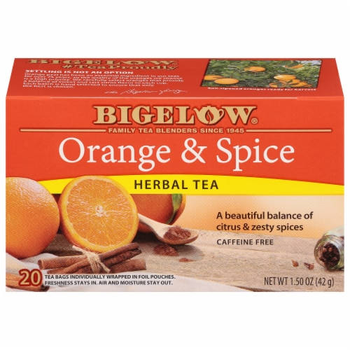 Bigelow Orange & Spice Herbal Tea Bags Perspective: front