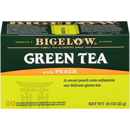 Bigelow Green Tea with Peach Tea Bags 20 Count Perspective: front