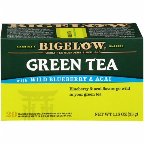 Bigelow Green Tea with Wild Blueberry & Acai Tea Perspective: front