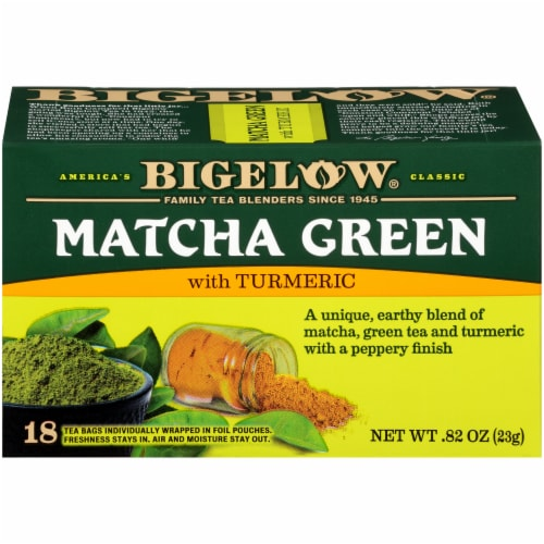 Bigelow Macha Green Tea Bags with Turmeric Perspective: front