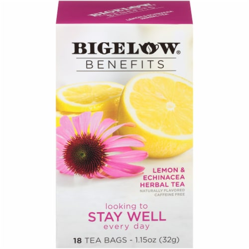 Bigelow Benefits Stay Well Lemon & Echinacea Herbal Tea Bags Perspective: front