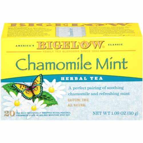 Bigelow Chamomile Mint Herbal Tea Bags 20 Count Perspective: front