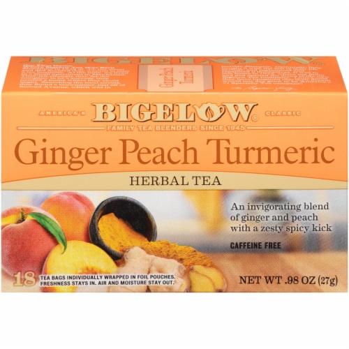 Bigelow Ginger Peach Turmeric Herbal Tea Bags Perspective: front