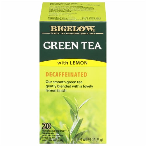 Bigelow Decaffeinated Green Tea with Lemon Bags Perspective: front
