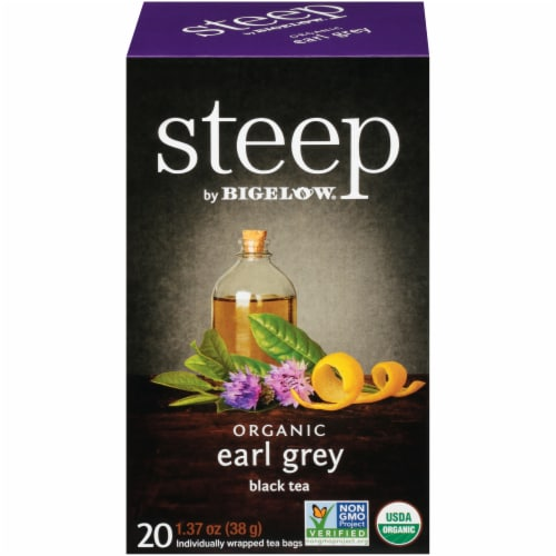 Bigelow Steep Organic Early Grey Black Tea Perspective: front