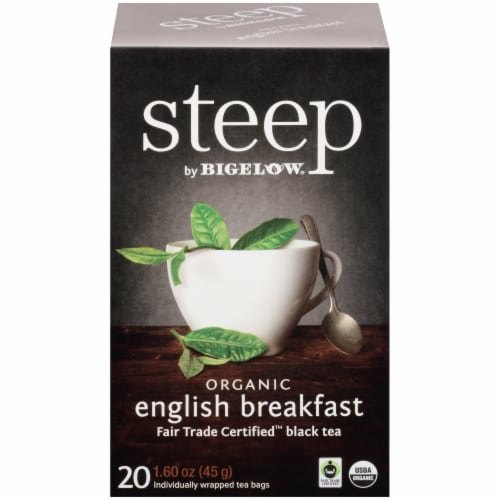 Bigelow Steep Organic English Breakfast Black Tea Perspective: front