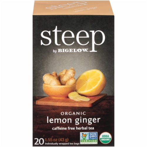 Bigelow Steep Organic Lemon Ginger Herbal Tea Perspective: front