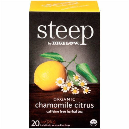 Bigelow Steep Organic Chamomile Citrus Herbal Tea Perspective: front