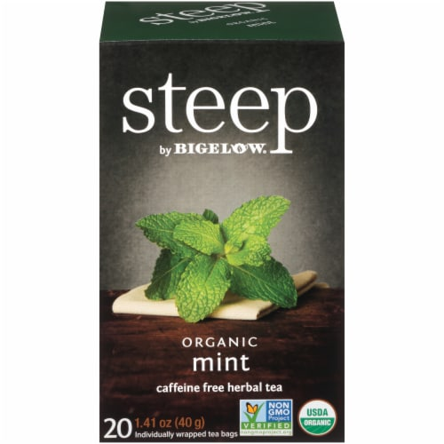 Bigelow Steep Organic Mint Herbal Tea Perspective: front