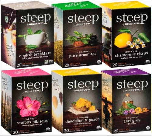 Bigelow Steep Organic Tea Assorted Case Perspective: front