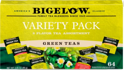 Bigelow 8 Flavor Green Assortment Variety Pack Tea Bags 64 Count Perspective: front