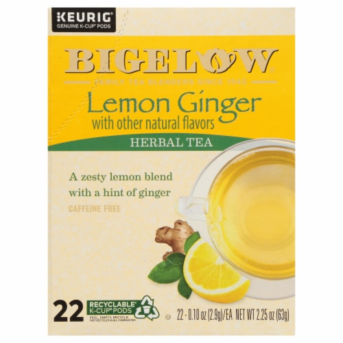 Bigelow Lemon Ginger Herbal Tea K-Cup Pods Perspective: front