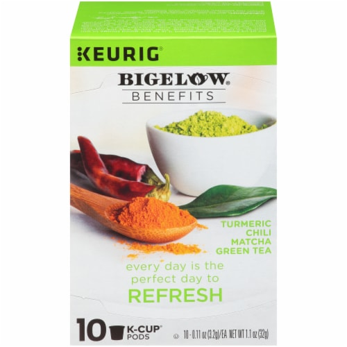 Bigelow Turmeric Chili Matcha Green Tea Herbal Tea K-Cup® Pods Perspective: front