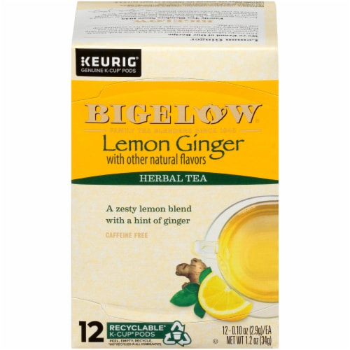 Bigelow Lemon Ginger Herbal Tea K-Cup Pods Perspective: front