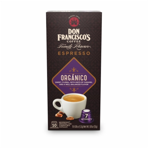 Don Francisco's Coffee Family Reserve Organico Espresso Coffee Pods Perspective: front