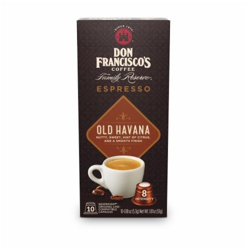 Don Francisco's Coffee Family Reserve Old Havana Espresso Coffee Pods Perspective: front