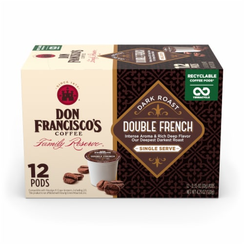 Don Francisco's Coffee Family Reserve Double French Single Serve Coffee Pods Perspective: front