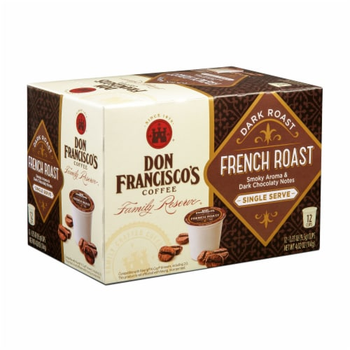 Don Francisco's Coffee Family Reserve French Roast Coffee Single Serve Cups Perspective: front