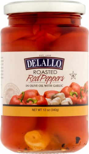 Delallo Roasted Red Peppers with Garlic Perspective: front