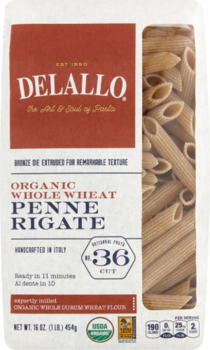 DeLallo Organic Whole Wheat Penne Rigate Pasta Perspective: front