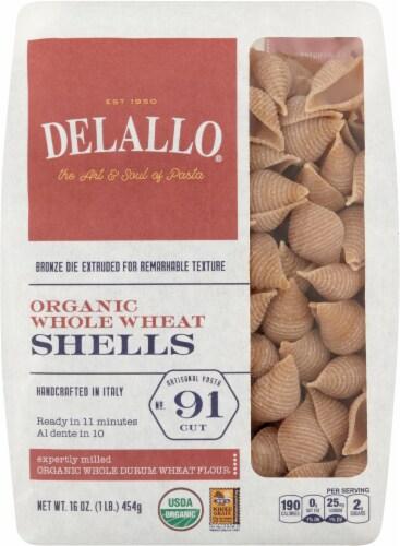 DeLallo Organic Whole Wheat Pasta Shells No 91 Perspective: front