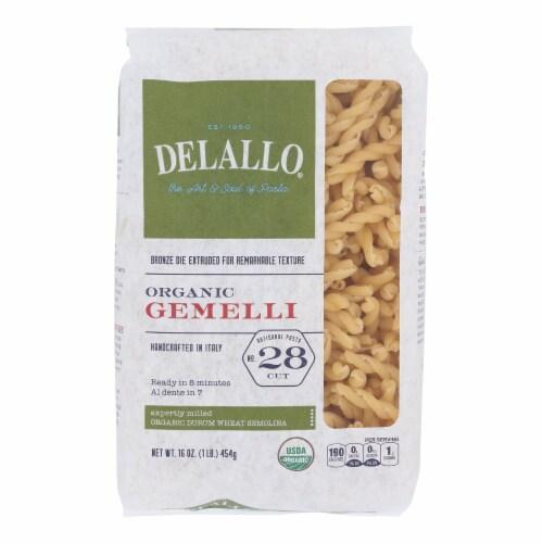 Delallo - Organic Gemelli Pasta - Case of 16 - 1 lb. Perspective: front