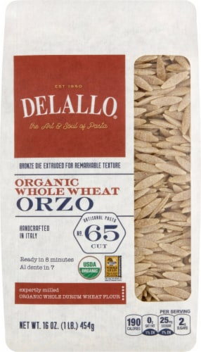 DeLallo Organic Whole Wheat Orzo No 65 Perspective: front