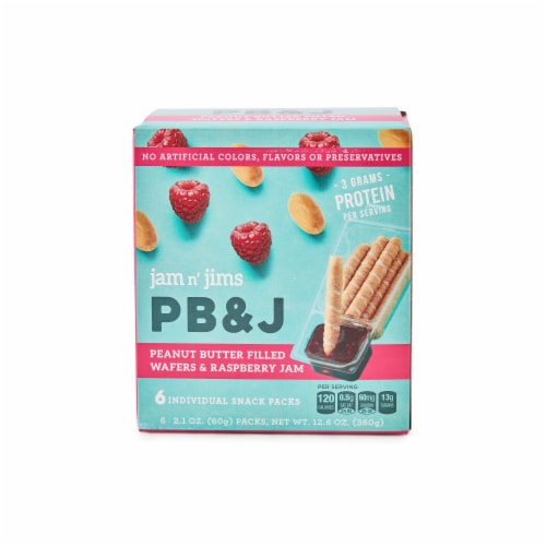 DeLallo Jam n' Jims PB & J Peanut Butter Filled Wafers & Raspberry Jam Perspective: front