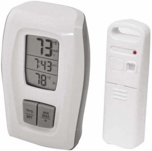 Acu-Rite Indoor and Outdoor Thermometer with Clock - White Perspective: front
