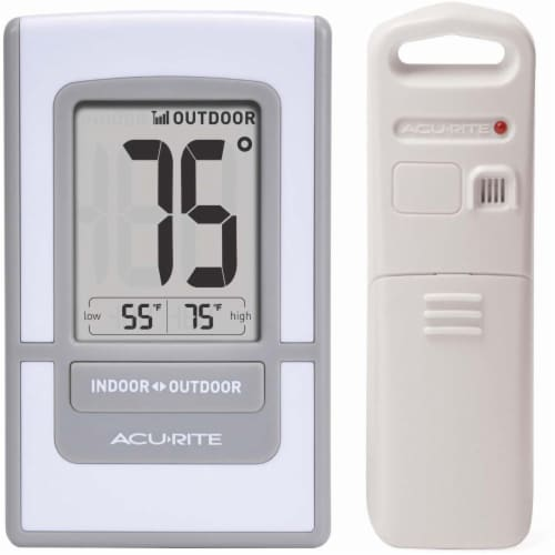 Acu-Rite Digital Indoor/Outdoor Thermometer - White/ Gray Perspective: front
