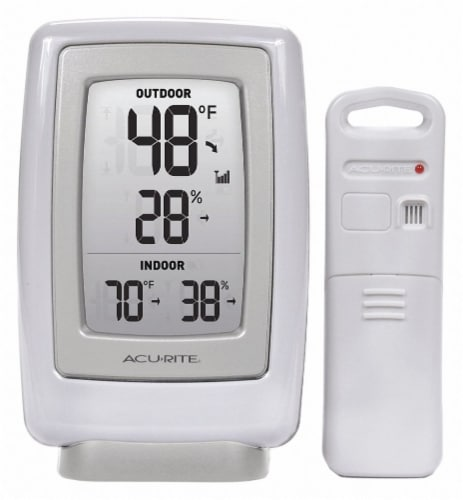 AcuRite Digital Thermometer With Outdoor Temperature and Humidity - White Perspective: front