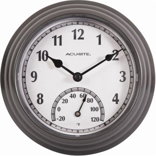 Acu-Rite Outdoor Clock with Thermometer - Gunmetal Gray Perspective: front