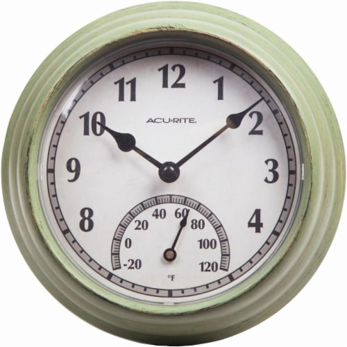 Acu-Rite Outdoor Clock with Thermometer - Rustic Green Perspective: front
