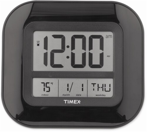 Timex Atomic Digital Wall Clock with Indoor Temperature - Black Perspective: front