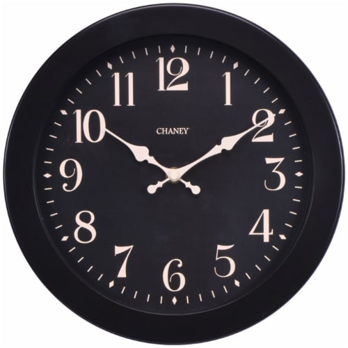 Chaney Analog Wall Clock - Black Perspective: front