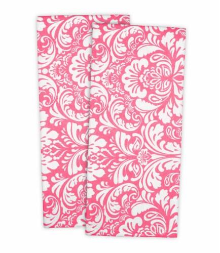DII Pink Damask Dishtowel (Set of 2) Perspective: front