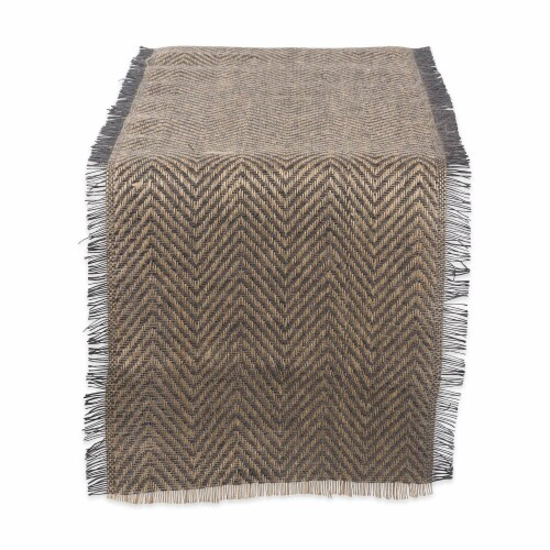 DII Mineral Chevron Burlap Table Runner Perspective: front