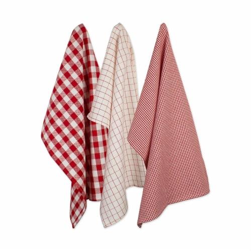 Design Imports CAMZ10660 Holiday Checks Heavyweight Dish Towel & Dishcloth Set - Set of 6 Perspective: front