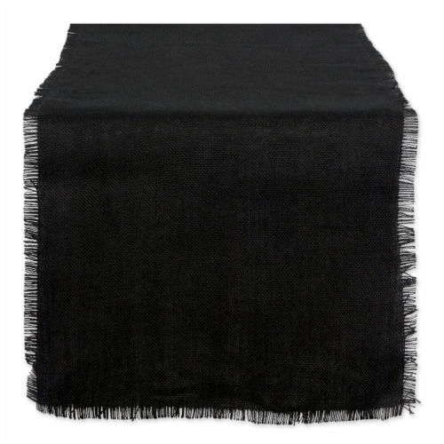 DII Black Jute Table Runner Perspective: front