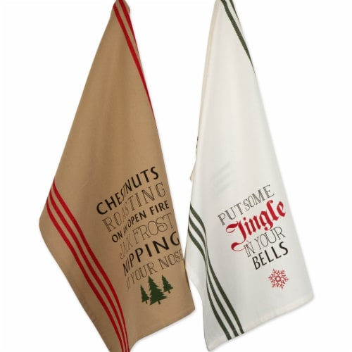 Design Imports Christmas Fireside Printed Dish Towels Set - Set of 2 Perspective: front