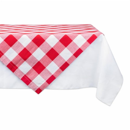 Design Imports CAMZ11243 40 x 40 in. Buffalo Check Table Topper - Red & White Perspective: front