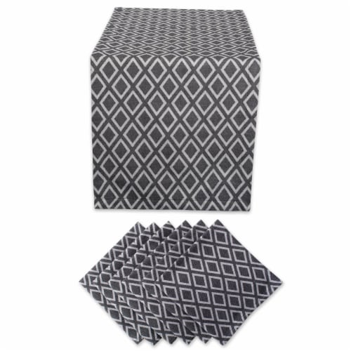 Dii Table Set Black And White Diamond (Set Of 7) Perspective: front