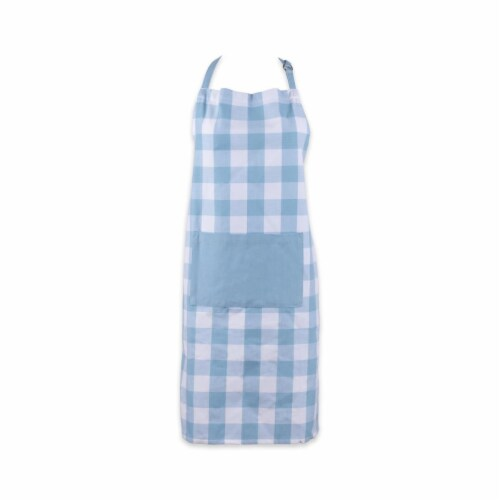 Design Imports Light Blue Buffalo Check Chef Apron Perspective: front