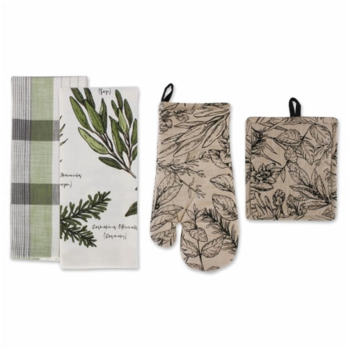 Dii Fresh Herbs Kitchen Textiles, Potholder & Dishtowels, Fresh Herbs, 4 Pieces Perspective: front