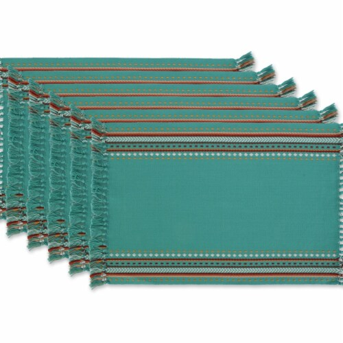 Design Imports CAMZ11660 Agate Blue Hacienda Stripe Fringed Placemat - Set of 6 Perspective: front