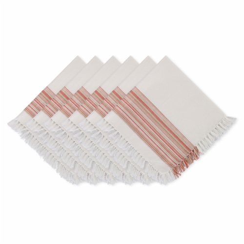 """Dii Fringed Stripe Tabletoppers, 20X20"""", Pimento, 6 Pieces Perspective: front"""